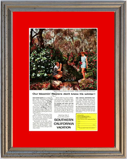 1958 Southern California Vacation Vintage Ad Travel Descanso Gardens Pasadena SoCal 58 *You Choose Frame-Mat Colors-Free USA S&H*