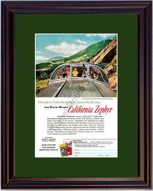1958 California Zephyr Vintage Ad Burlington Rio Grande Western Pacific Railway Train Vacation Travel 58 *You Choose Frame-Mat Colors-Free USA S&H*