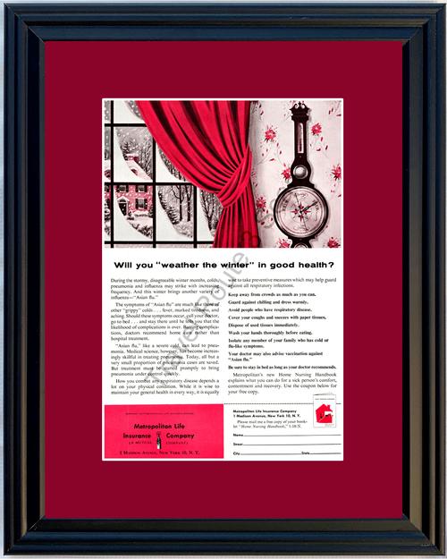 1958 Winter Good Health Vintage Ad Metropolitan Met Life Insurance Sickness 58 *You Choose Frame-Mat Colors-Free USA S&H*