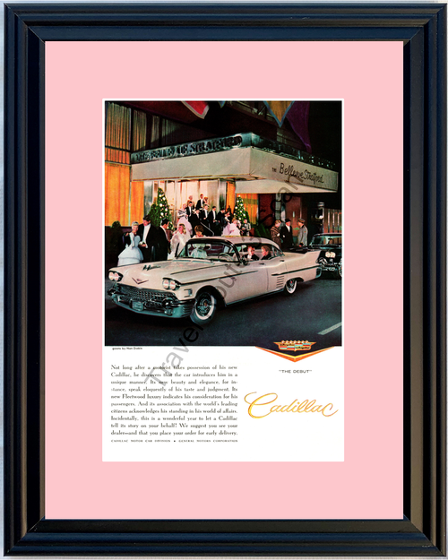 1958 Cadillac Fleetwood Vintage Ad 58 Caddy Pink The Bellevue Stratford Hotel Gowns by Nan Duskin *You Choose Frame-Mat Colors-Free USA S&H*