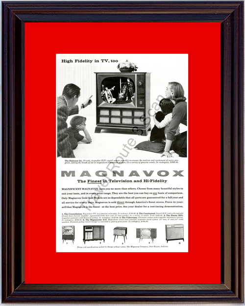 1958 Magnavox Television TV Vintage Ad High Fidelity Chromatic Picture 58*You Choose Frame-Mat Colors-Free USA S&H*