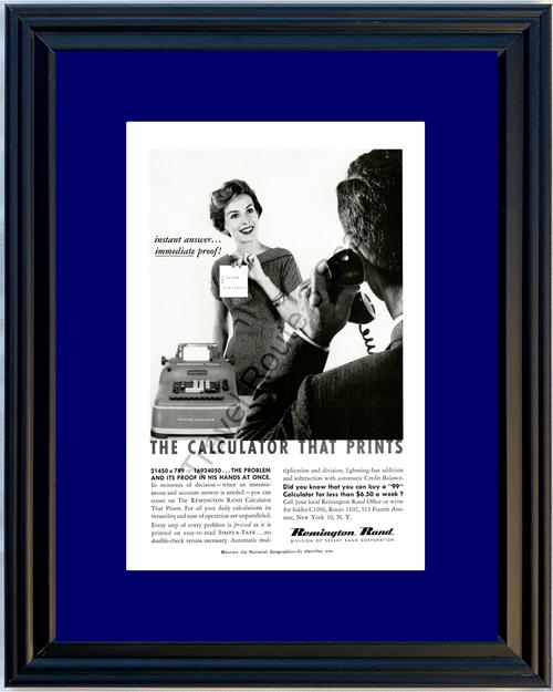 1958 Remington Rand Calculator Vintage Ad Printing Print Office SIMPLA-TAPE 58 *You Choose Frame-Mat Colors-Free USA S&H*
