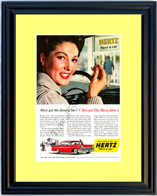 1958 Hertz Chevrolet Vintage Ad Rent a Car 58 Chevy Bel Air 4 Door Hardtop *You Choose Frame-Mat Colors-Free USA S&H*