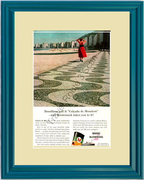 1958 Rio de Janeiro Vintage Ad South America Cruise Travel Vacation Moore-McCormack Lines 58 *You Choose Frame-Mat Colors-Free USA S&H*