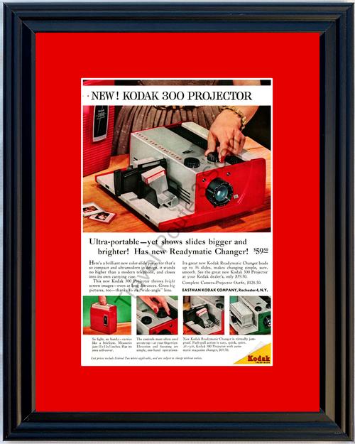 1957 57 Kodak 300 Slide Projector Readymatic Changer Vintage Ad 2 of 2