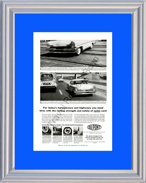 1957 57 Dupont Du Pont Tires Nylon Cord Bias Ply Lincoln Chemistry Vintage Ad