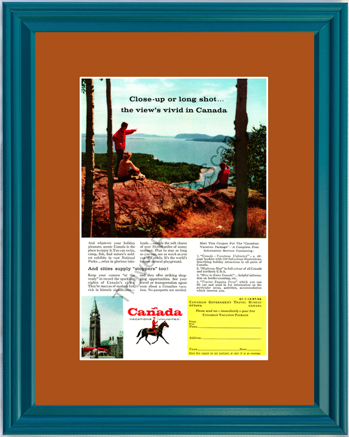1957 Canada Canadian National Parks Vintage Ad Travel Vacation Lake Hiking 57 *You Choose Frame-Mat Colors-Free USA S&H*