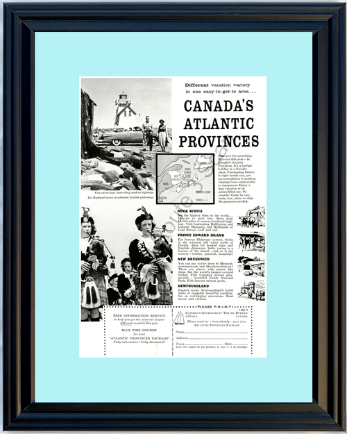 1957 57 Canada Vacation Nova Scotia Prince Edward Island New Brunswick Newfoundland Scottish Travel Vintage Ad