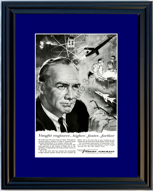 1957 Chance Vought Aircraft Vintage Ad Regulus Guided Missile Crusader Jet Fighter 57 *You Choose Frame-Mat Colors-Free USA S&H*