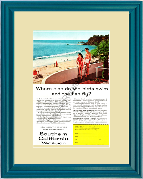 1957 57 Southern California Vacation SoCal Beach Los Angeles Santa Monica Travel Vintage Ad