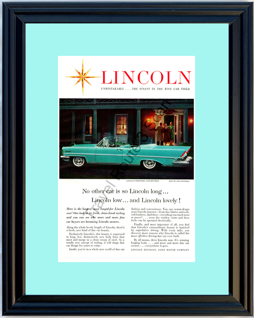 1957 Lincoln Premiere Convertible Vintage Ad Coat by Vera Maxwell Luxury Automobile 57 *You Choose Frame-Mat Colors-Free USA S&H*