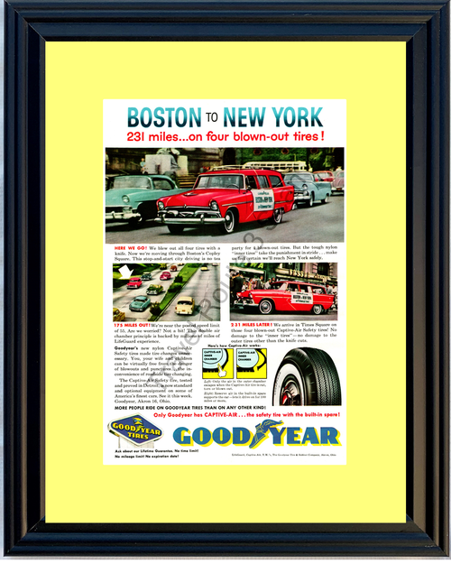 1957 57 Goodyear Captive-Air Tires Boston to New York Copley Square Times Good Year Vintage A