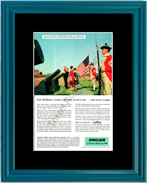 1957 57 Sinclair Oil Star-Spangled Banner Fort McHenry National Monument Baltimore Vintage Ad