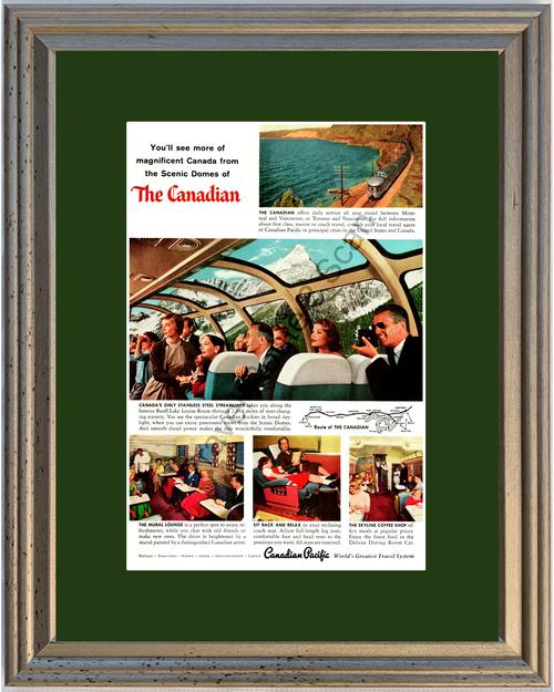 1957 57 Canadian Pacific Streamliner Dome Banff Lake Louise Rockies Railway Railroad Train Vintage Ad