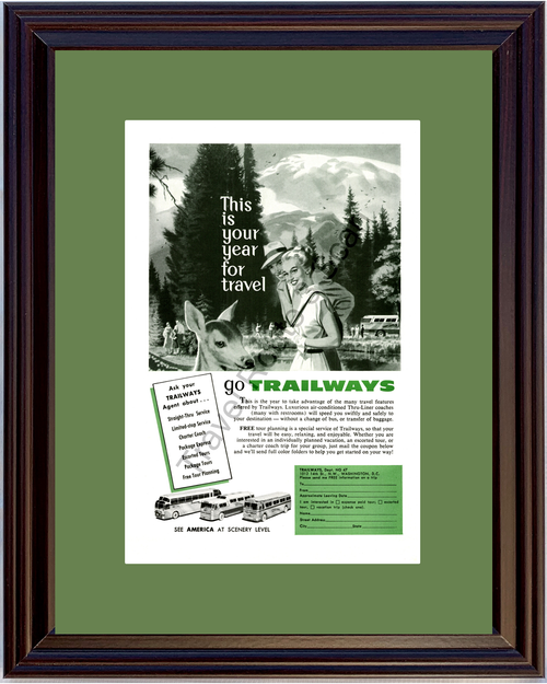 1957 Trailways Bus Vintage Ad Travel Vacation Coach Tour Charter Thru Liner America American 57 *You Choose Frame-Mat Colors-Free USA S&H*