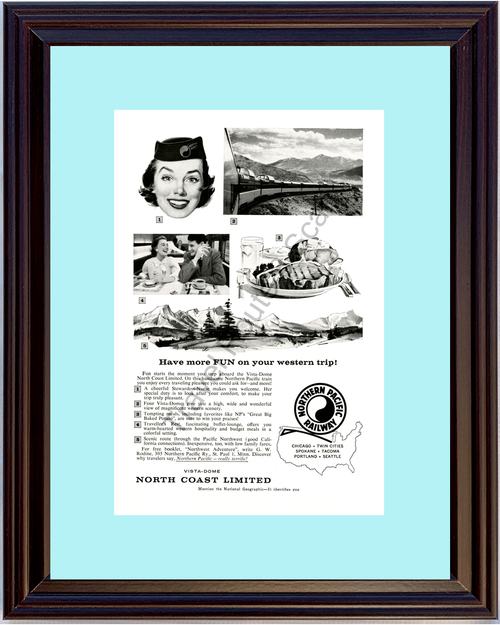 Copy of 1957 57 Northern Pacific Railway Northwest PNW Railroad Rail Road Train Vacation Travel Vintage Ad
