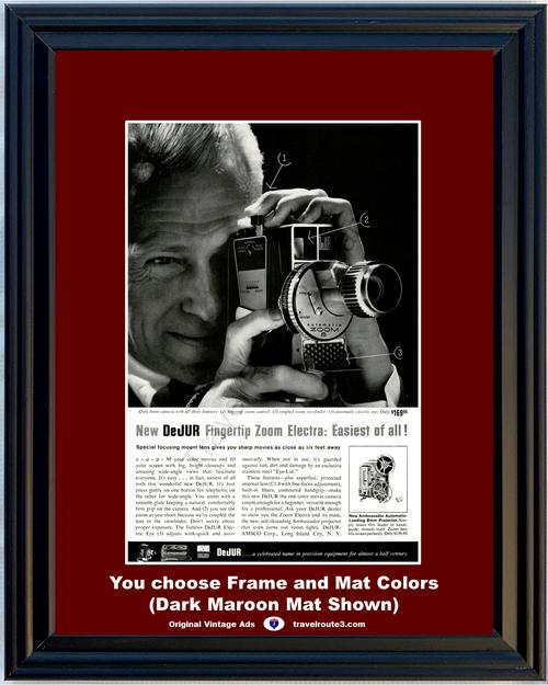 1960 DeJUR Movie Camera Vintage Ad Fingertip Zoom Electra 8mm Color Projector 60*You Choose Frame-Mat Colors-Free USA S&H*