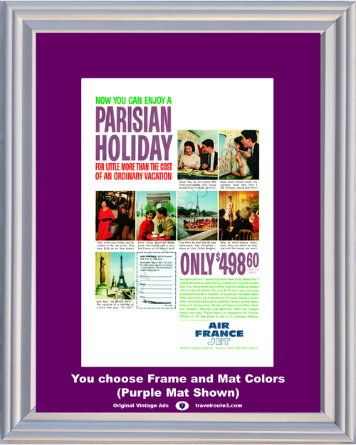 1960 Air France Jet Parisian Holiday Vintage Ad Paris Eiffel Tower Vacation Travel 60 *You Choose Frame-Mat Colors-Free USA S&H*