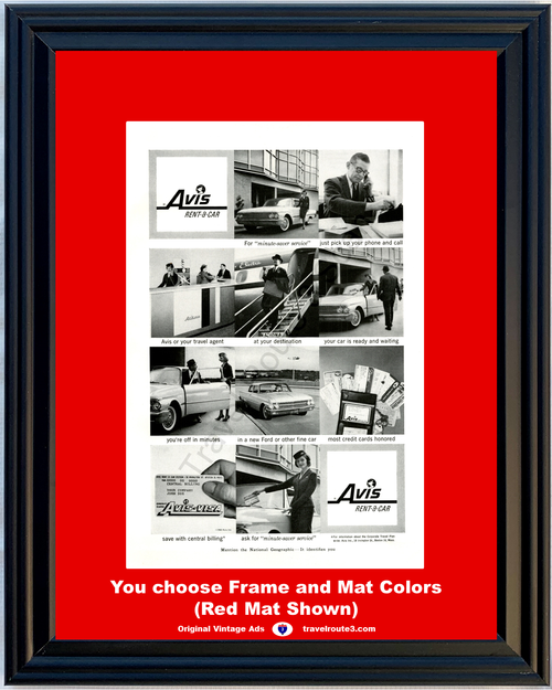 1960 Avis Rent a Car Vintage Ad Rental 1961 61 Ford Corporate Travel Plan Rental 60 *You Choose Frame-Mat Colors-Free USA S&H*