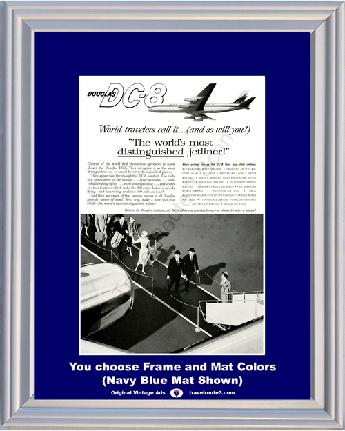 1960 Douglas DC-8 Vintage Ad Airplane Jetliner Jet Plane Air Lines Airways Travel Vacation 60 *You Choose Frame-Mat Colors-Free USA S&H*