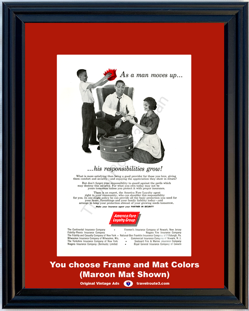 1960 As a Man Moves Up Vintage Ad America Fore Insurance Home Fire Liability Security Casualty 60 *You Choose Frame-Mat Colors-Free USA S&H*