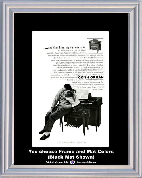 1960 Conn Organ Vintage Ad Raymond Loewy Styles Musical Instruments Manufacturer 60 *You Choose Frame-Mat Colors-Free USA S&H*