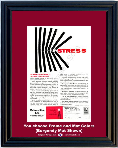 1960 Metropolitan Life Insurance Vintage Ad Stress Mental Emotional Health and Wellness Met 60 *You Choose Frame-Mat Colors-Free USA S&H*