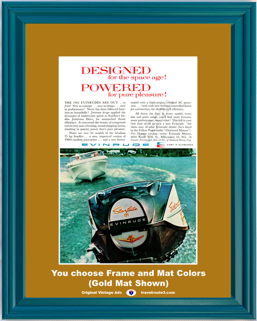 1960 Evinrude Outboard Motor Vintage Ad Marine Jetstream Drive Starflite Boat Boating 60 *You Choose Frame-Mat Colors-Free USA S&H*