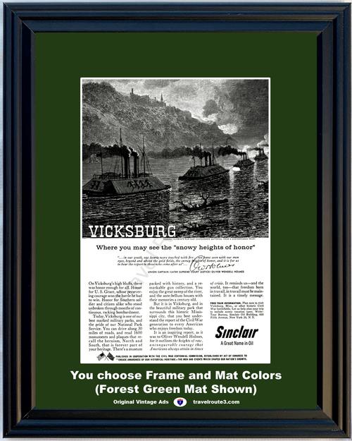 1960 Sinclair Oil Vicksburg National Park Vintage Ad Civil War Federal Gunboats Oliver Wendell Holmes 60 *You Choose Frame-Mat Colors-Free USA S&H*