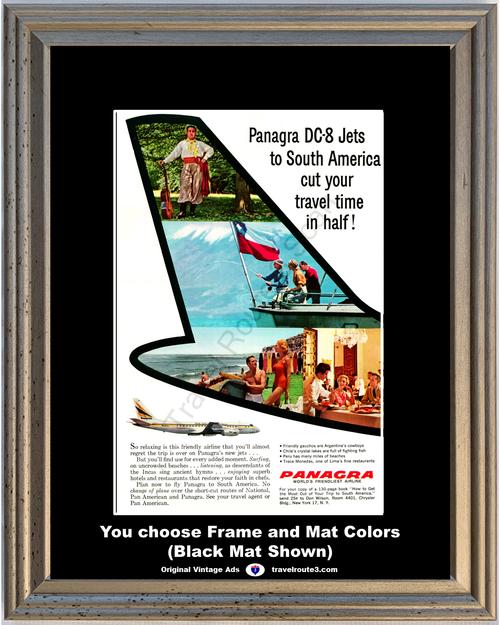 1960 South America Travel Vintage Ad Panagra DC-8 Jet Argentina Cowboy Lima Chile Peru Pan American 60 *You Choose Frame-Mat Colors-Free USA S&H*