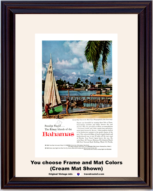 1960 Bahamas Resort Islands Vintage Ad Hope Town Abaco Cay Isles of June Vacation Travel 60 *You Choose Frame-Mat Colors-Free USA S&H*