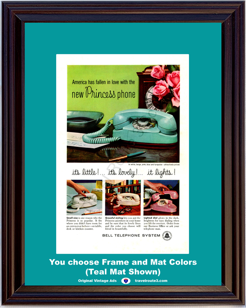 1960 Bell Telephone Princess Phone Vintage Ad Rotary Dial White Beige Pink Turquoise AT&T ATT 60 *You Choose Frame-Mat Colors-Free USA S&H*
