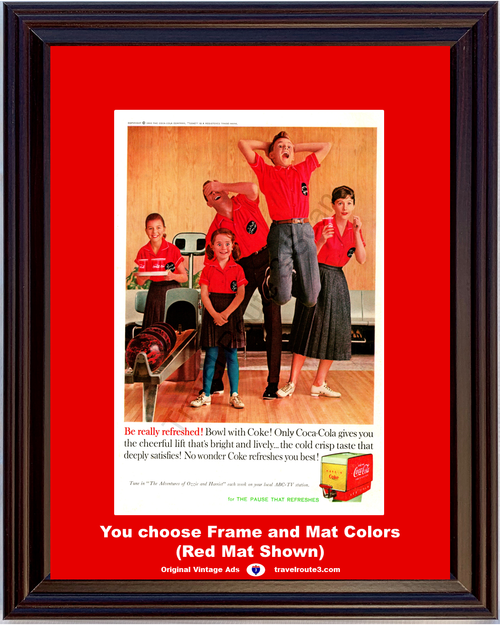 1960 Coca-Cola Bowling Vintage Ad Have a Coke The Pause That Refreshes Family Fun 60 *You Choose Frame-Mat Colors-Free USA S&H*