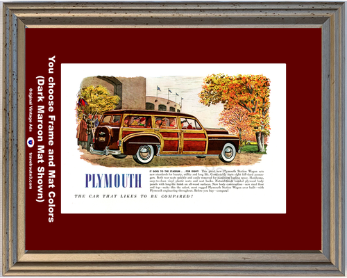 1949 Plymouth Woody Station Wagon Vintage Ad 49 Woodie Eight 8 Passenger Fall Autumn Football Stadium *You Choose Frame-Mat Colors-Free USA S&H*