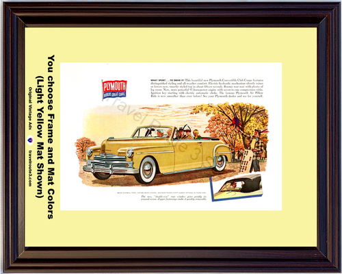 1949 Plymouth Convertible Vintage Ad 49 Club Coupe Fall Autumn White Sidewall Tires Chrome Wheel Covers *You Choose Frame-Mat Colors-Free USA S&H*