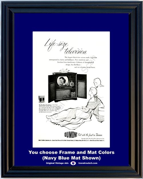 1949 Du Mont Dumont Bradford Television Vintage Ad TV Record Player FM Radio Cabinet 49 *You Choose Frame-Mat Colors-Free USA S&H*