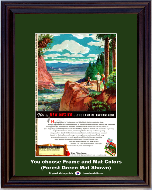 1949 New Mexico Land of Enchantment Vintage Ad Hiking Mountain Climbing Vacation Travel 49 *You Choose Frame-Mat Colors-Free USA S&H*