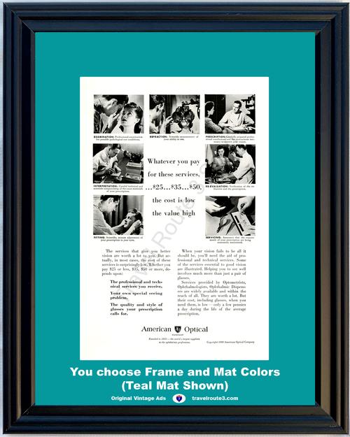 1949 American Optical Prescription Vintage Ad Eye Glasses Optometrist Ophthalmologist Ophthalmic Dispenser *You Choose Frame-Mat Colors-Free USA S&H*