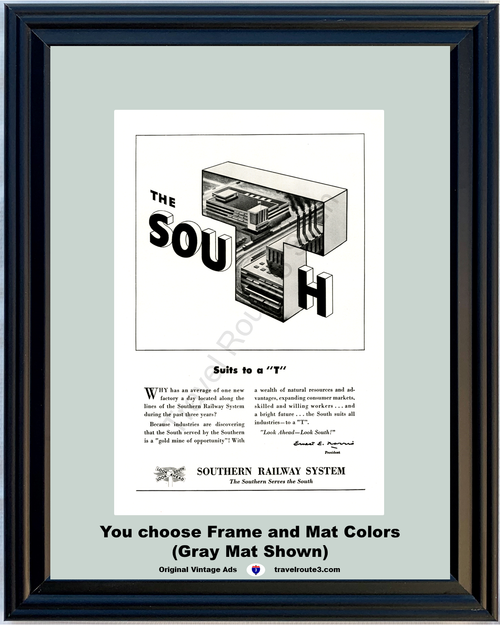 1949 Southern Railway System Vintage Ad The South Industrial Development 49 *You Choose Frame-Mat Colors-Free USA S&H*