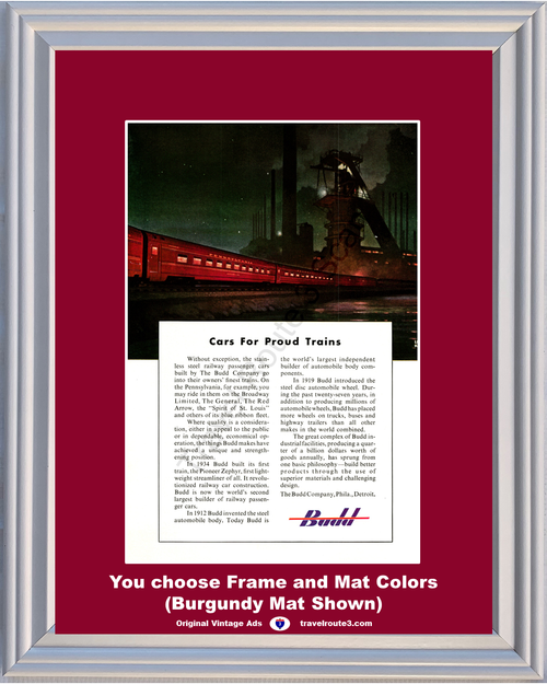 1949 The Budd Company Vintage Ad Pioneer Zephyr Train Steel Automotive Body Wheels Industry Manufacturing *You Choose Frame-Mat Colors-Free USA S&H*