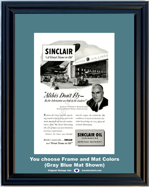 1949 Sinclair Oil Eastern Air Lines Vintage Ad Eddie Rickenbacker Airplane Air Lines 49 *You Choose Frame-Mat Colors-Free USA S&H*