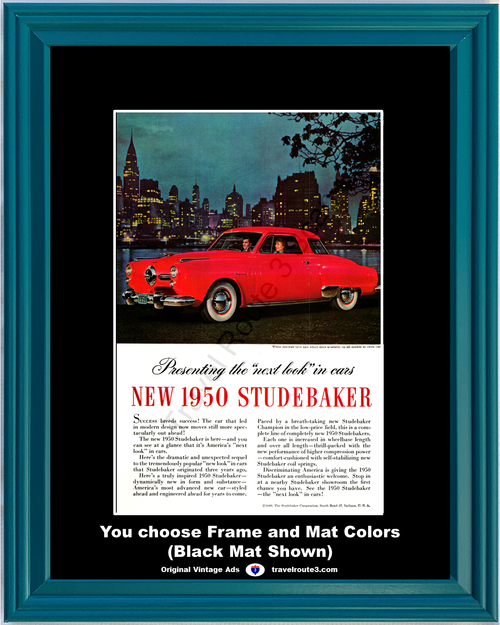1950 Studebaker Champion 50 Vintage Ad Red 2 Door Next Look in Cars Detroit Chrysler Building Late 1949 Ad *You Choose Frame-Mat Colors-Free USA S&H*