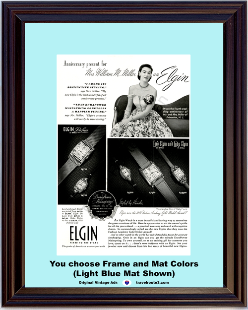 1949 Elgin Watch De Luxe Lord Lady Vintage Ad Anniversary Gift Elgiloy Metal 49 *You Choose Frame-Mat Colors-Free USA S&H*
