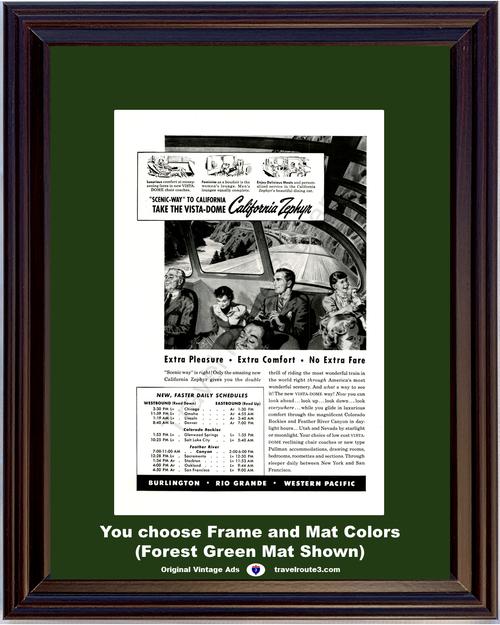 1949 Burlington Railways Rio Grande Vintage Ad Western Pacific California Zephyr Train Vacation Travel 49 *You Choose Frame-Mat Colors-Free USA S&H*