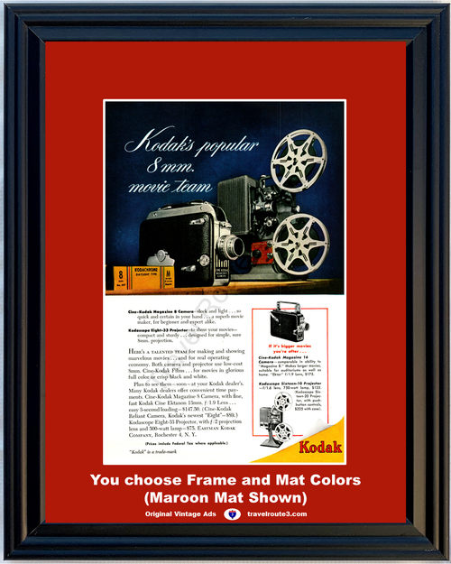 1949 Eastman Kodak 8mm Vintage Ad Cine-Kodak Movie Camera Kodascope Kodachrome Projector 49 *You Choose Frame-Mat Colors-Free USA S&H*