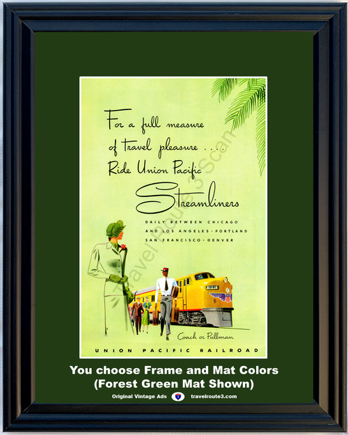 1949 Union Pacific Railroad Vintage Ad Streamliners Engine Train Vacation Travel 49 *You Choose Frame-Mat Colors-Free USA S&H*