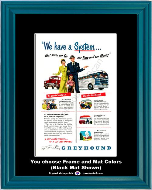 1949 Greyhound Bus Vintage Ad SuperCoach Super Coach Second Car Business Vacation Travel 49 *You Choose Frame-Mat Colors-Free USA S&H*