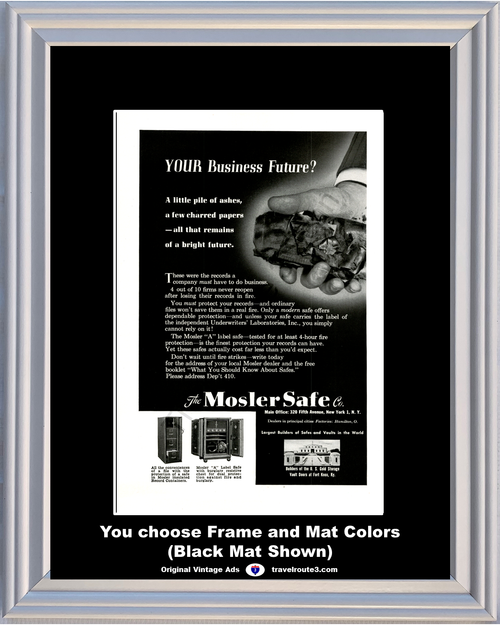 1949 Mosler Safe Fire Vintage Ad Burglary Fire Theft Document Office Business Protection 49 *You Choose Frame-Mat Colors-Free USA S&H*