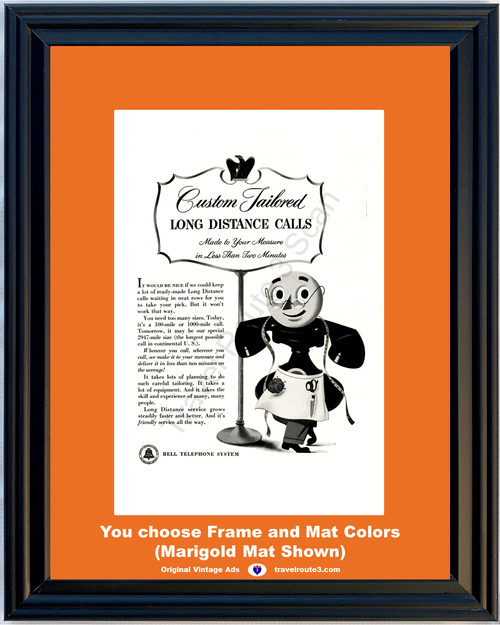 1949 Bell Telephone Long Distance Vintage Ad Calls Tailor Rotary Dial Phone Humor 49 *You Choose Frame-Mat Colors-Free USA S&H*