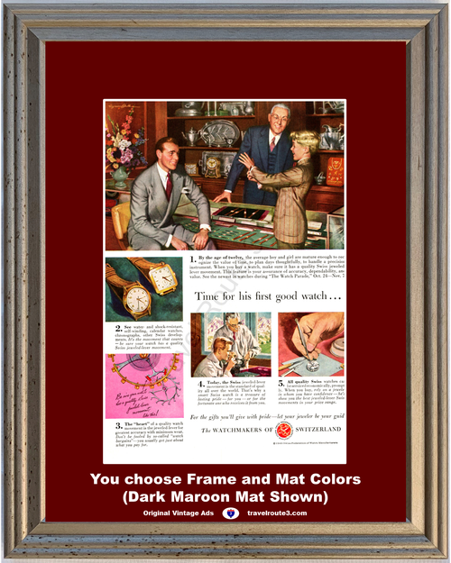 1949 First Swiss Watch Watchmakers Vintage Ad of Switzerland Federation Manufactures Jeweler Jewelry 49 *You Choose Frame-Mat Colors-Free USA S&H*